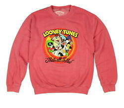 Looney Tunes Mens That#x27;s All Folks Character Group Crew Neck Sweatshirt $30.95