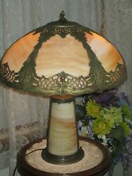 ANTIQUE SLAG GLASS LIGHTED BASE PANEL LAMP $1450.00