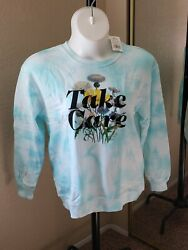 Women#x27;s NWT FIFTH SUN Size XL Aqua White quot;TAKE CAREquot; Tie Dye sweatshirt $28.00
