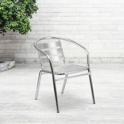 Heavy Duty Aluminum Commercial Indoor Outdoor Restaurant Stack Chair with Tri...