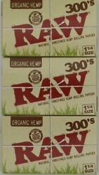 3X RAW ROLLING PAPER 300s 1 1 4 SIZE 900 SHEETS TOTAL 300 PER PACK ORGANIC $12.98