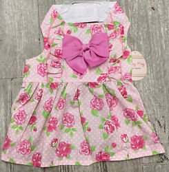 SIMPLY WAG PINK ROSES RUFFLE FRONT HALTER DRESS Puppy Dog small $16.50