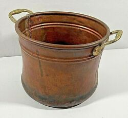 OLD Copper Bucket Pail with 2 Brass Riveted Handles Seamed Tongue amp; Groove Base $90.00