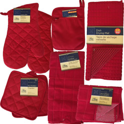 This Red Kitchen Starter Set Has Oven Mitts Pot Holders Kitchen Towels Micr $28.99