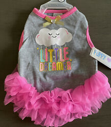 SIMPLY WAG Gray quot;LITTLE DREAMERquot; TuTu Dress Puppy Dog SMALL $16.50