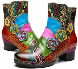 gracosy Ankle Booties for Women Leather Block Heel Bootie Colorful Size 10.0 $55.20