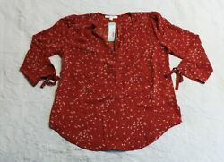 Fun2Fun Women#x27;s Amiyah Tie Cuff 3 4 Sleeve Blouse DG4 Burnt Orange Small NWT $17.99