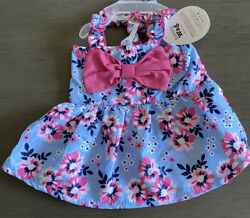SIMPLY WAG Blue with Pink Flowers STRAPPY Dress Puppy Dog small $16.50