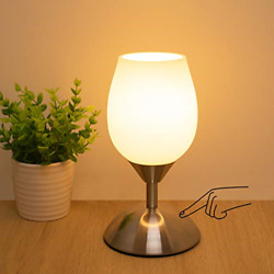 Boncoo Dimmable Touch Control Table Lamp Small Touch Lamp with White Opal Glass $35.99