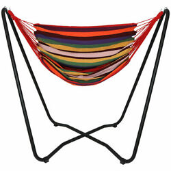 Sunnydaze Hanging Rope Hammock Chair Swing with Space Saving Stand Sunset $149.00
