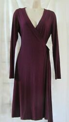 BANANA REPUBLIC Wrap Style Dress Long Sleeve Plum Stretch Career Cocktail Size S $14.99