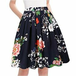Taydey A Line Pleated Vintage Skirts for Women Navy Flower Size Medium hOpx $9.99