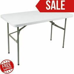 Folding Table 4ft Small Sturdy Heavy Duty Plastic Indoor Outdoor Party Banquet $47.80