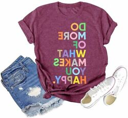 Fun Happy Graphic T Shirt Women Novelty Graphic Letter Rose Red Size Large n3x $9.99