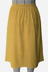 Meyeeka Women Button Front Midi Skirt for Christmas Solid Yellow Size Medium A $9.99