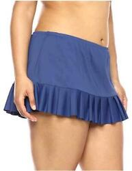 24th amp; Ocean Women#x27;s Plus Size Mid Waist Skirted Navy Solid Size 20 Plus cp6X $13.99