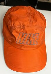 Vintage 90#x27;s Nike Orange Grey 5 Panel Nylon Hat Rare