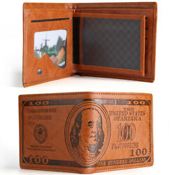 Vintage Leather Dollar Pattern Designer Men#x27;s Wallets Casual Credit Card Holders