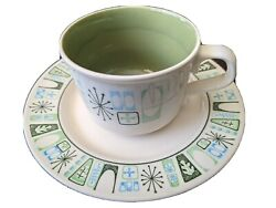 Taylor Smith Taylorstone Cathay Vintage Atomic Green Coffee Cup And Saucer Set $9.99