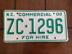 2000 North Carolina Commercial For Hire License Plate Tag