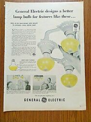 1950 GE General Electric Lamp Light Bulbs Ad Vintage Fixtures $2.40