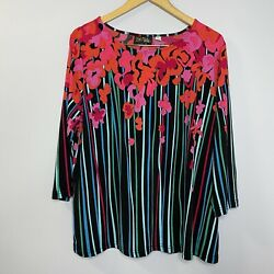 BOB MACKIE Women's Large Wearable Art Floral ¾ Sleeve Top New $27.00