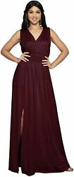 KOH KOH Womens Long Sleeveless Bridesmaid Cocktail Evening Maxi Red Size Large $17.99