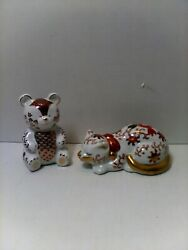 PRETTY VINTAGE ORIENTAL PORCELAIN HAND PAINTED CAT amp; BEAR $35.00