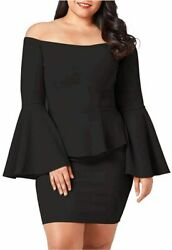 VINKKE Womens Peplum Off The Shoulder Party Plus Size Mini Black Size XX Large $9.99