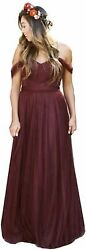 Fanciest Women#x27;s Off The Shoulder Tulle Long Bridesmaid Burgundy Size 16.0 ymZ