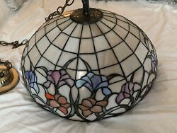 Authetic Chandelier Vintage Tiffany Shade Hanging Lamp mid century $299.00
