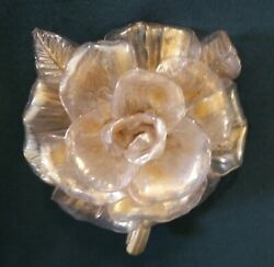 Antique Glass Rose Gold Translucent large mystery rose 6quot; wide 7quot; tall 4quot; deep $12.00