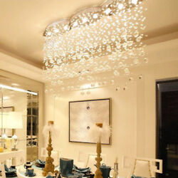 LED Modern Clear Rain Drop Ceiling Crystal Chandelier Lighting for dining Room $407.34