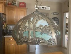 Antique Slag Glass Hanging Lamp Scenic Color Stained Glass Panels $400.00