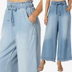 TheMogan Tencel Denim Pleated Wide Leg Palazzo Pants High Waisted Trousers $32.99