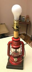 Vintage Mid Century Red Dietz Ranch Craft table lamp 14 1 2quot; tall $19.99