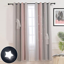 Hughapy Star Curtains Stars Blackout Curtains for Kids Girls Bedroom Living Room $34.63