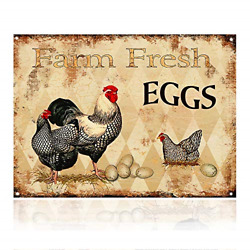 MMOUNT Farm Fresh Eggs Chicken Hen Rooster Tin Signs Kitchen Retro Vintage Decor $12.39