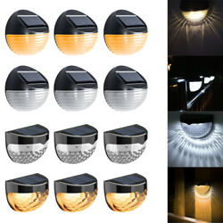 4 8PCS Solar Powered LED Garden Fence Lights Wall Patio Decking Outdoor Lighting