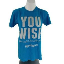 Remington Women Small You Wish Round Neck Blue Short Sleeve TShirt 003P $16.99