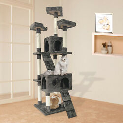 65quot; Multi Level Cat Tree 2 Condos and 3 Perches Climber Tower Furniture $68.00