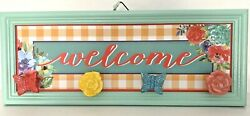 NEW Pioneer Woman WELCOME Spring 2021 Hanging Wood Sign Floral Butterfly Knobs $34.98