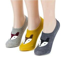 Women Novelty Cute Funny No Show Low Cut Non Slip Animal Three Foxes Size 6.0 $9.99