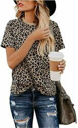 Women#x27;s Casual Cute Shirts Leopard Print Tops Basic Short Leopard01 Size Large