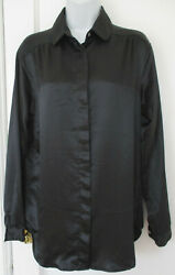 Wyndham Collection Long Sleeve Button Front Black Dress Shirt Women#x27;s Size M