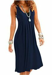 Camisunny Casual Loose Summer Dresses for Women Fashion Vest Blue Size Large F $9.99