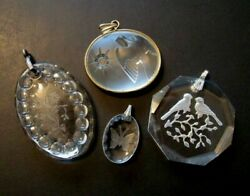Vintage Pendant Lot 4 Clear Reverse Carved Intaglio Glass Bird Flower Butterfly $15.00
