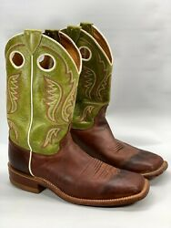Justin BR 307 Men#x27;s 8 D Green Brown Leather Square Toe Pull Holes Western Boots $65.95