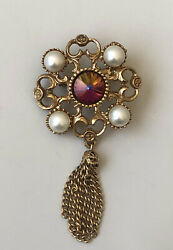 Vintage flower with tassel brooch pin gold tone metal $6.60