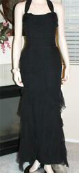 Mayela Haute Couture Black Evening Gown Dress Chiffon Silk FLAWLESS sz 44 US 4